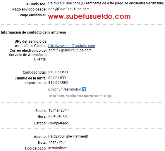 pago de paid2youtube