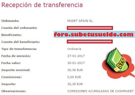 mudet transferencia bancaria
