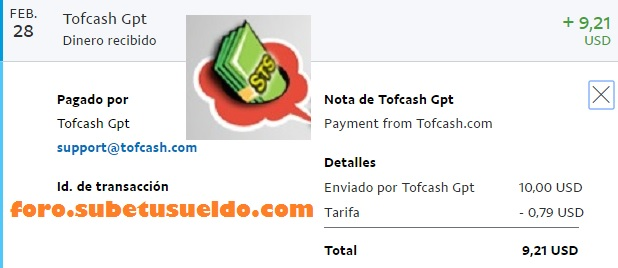 tofcash paypal